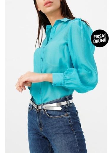Random Kadın Omuzları Fırfır Detaylı Gömlek Turkuaz